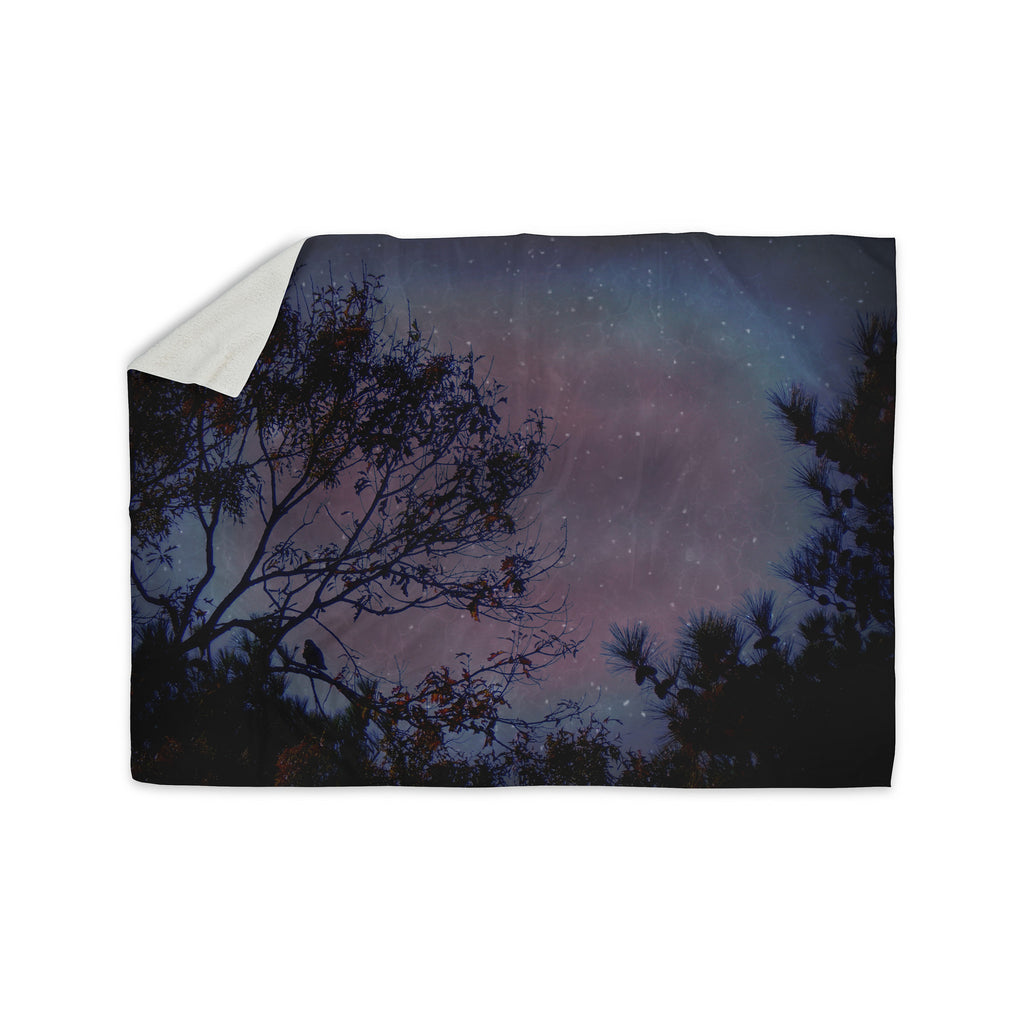 "Robin Dickinson ""Twilight"" Purple Tree Sherpa Blanket - KESS InHouse  - 1"