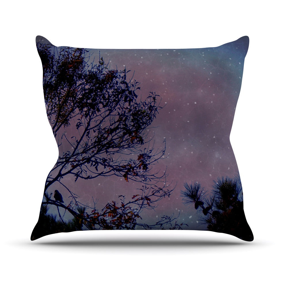 "Robin Dickinson ""Twilight"" Purple Tree Throw Pillow - KESS InHouse  - 1"