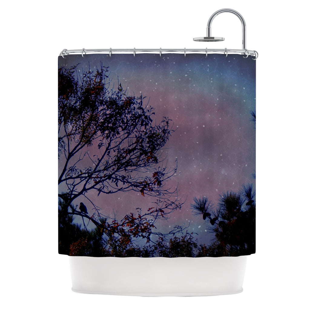 "Robin Dickinson ""Twilight"" Purple Tree Shower Curtain - KESS InHouse"
