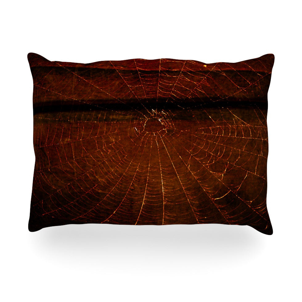 "Robin Dickinson ""Dark Web"" Maroon Red Oblong Pillow - KESS InHouse"