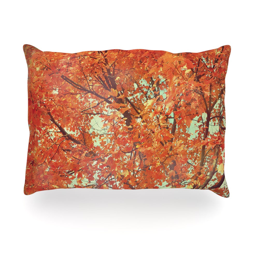 "Robin Dickinson ""Imagine"" Orange Leaves Oblong Pillow - KESS InHouse"