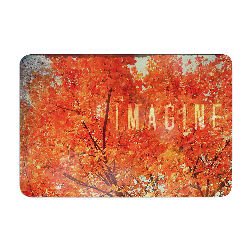 "Robin Dickinson ""Imagine"" Orange Leaves Memory Foam Bath Mat - KESS InHouse"