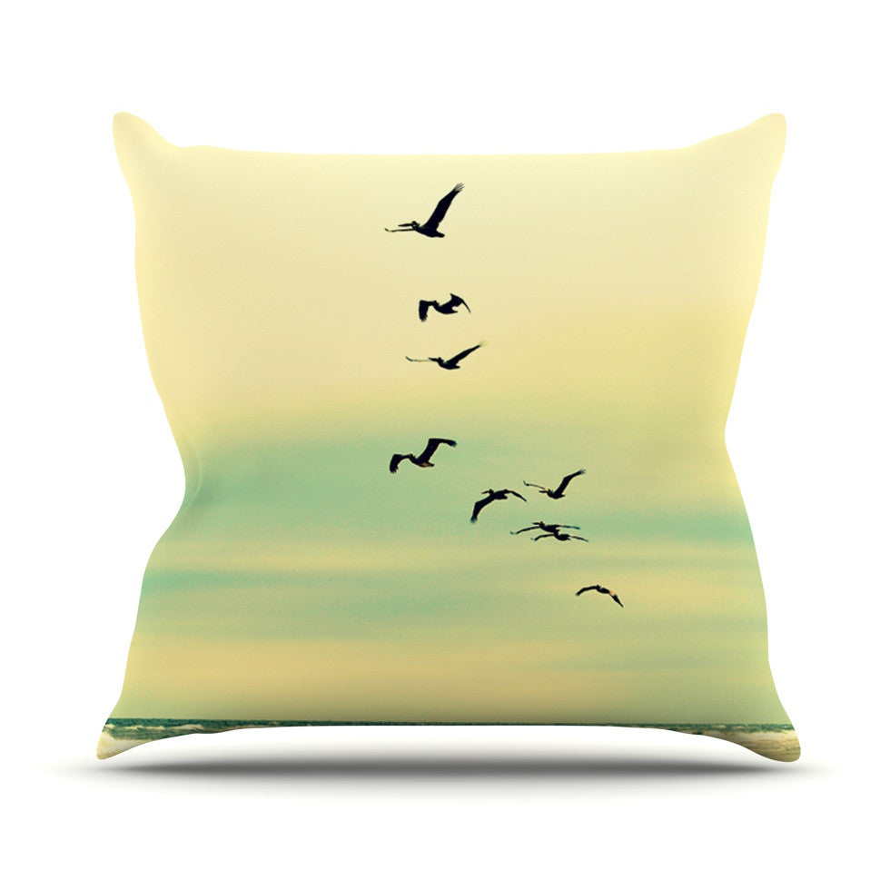 "Robin Dickinson ""Across The Endless Sea"" Birds Throw Pillow - KESS InHouse  - 1"