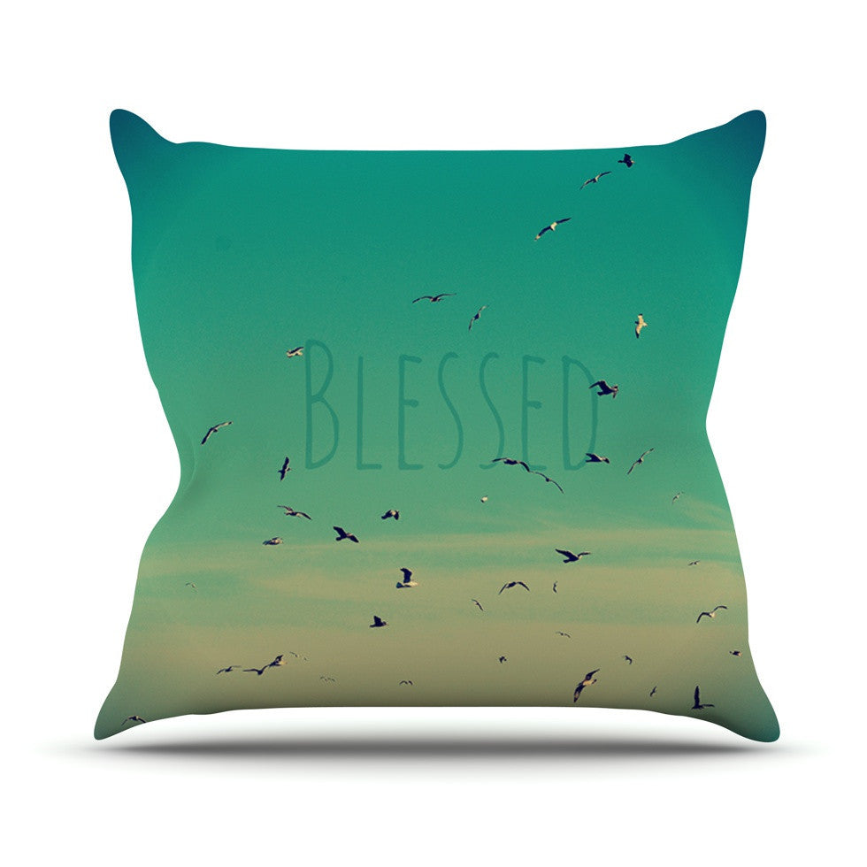 "Robin Dickinson ""Blessed"" Birds Outdoor Throw Pillow - KESS InHouse  - 1"