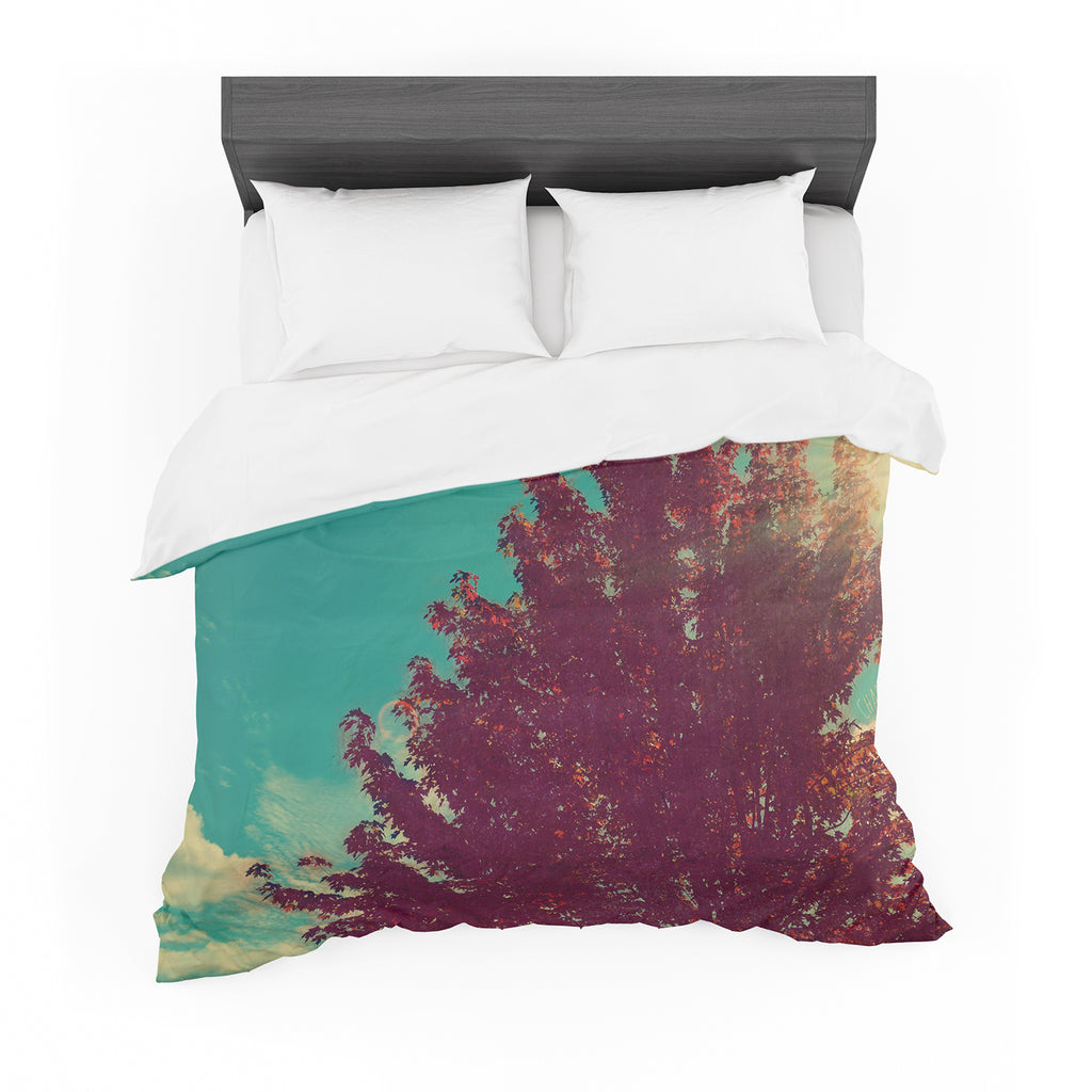 "Robin Dickinson ""Change is Beautiful"" Teal Red Cotton Duvet"
