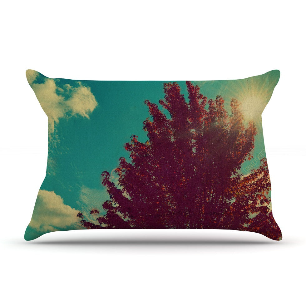 "Robin Dickinson ""Change is Beautiful"" Teal Red Pillow Sham - KESS InHouse"