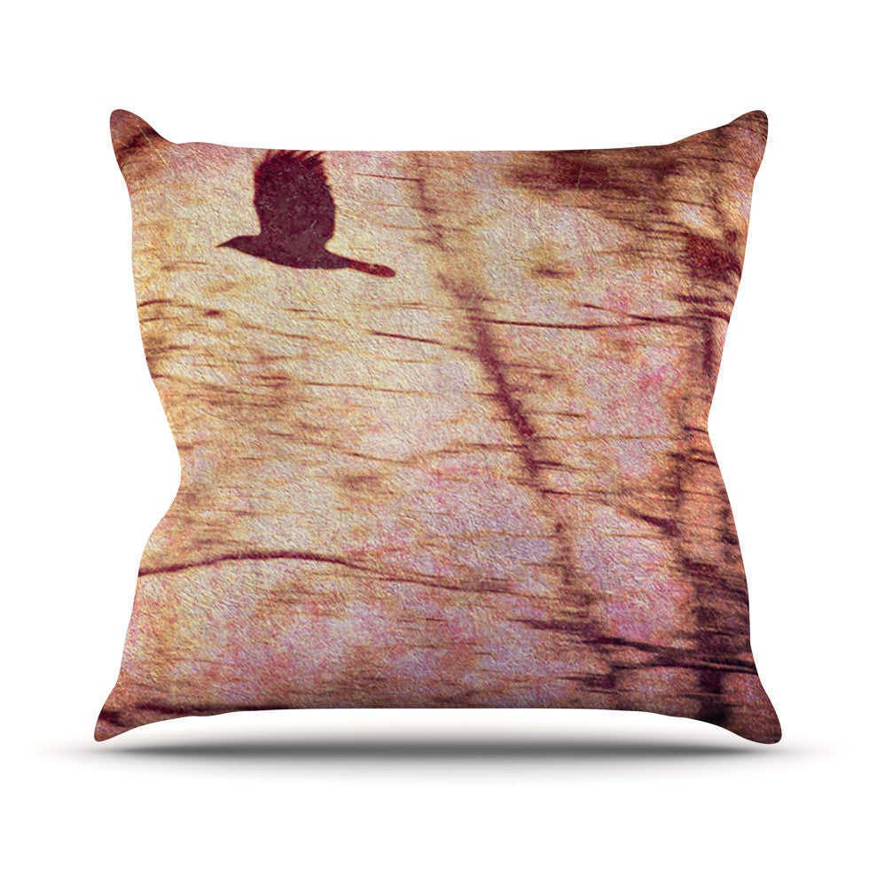 "Robin Dickinson ""Midnight Dreary"" Pink Tree Throw Pillow - KESS InHouse  - 1"