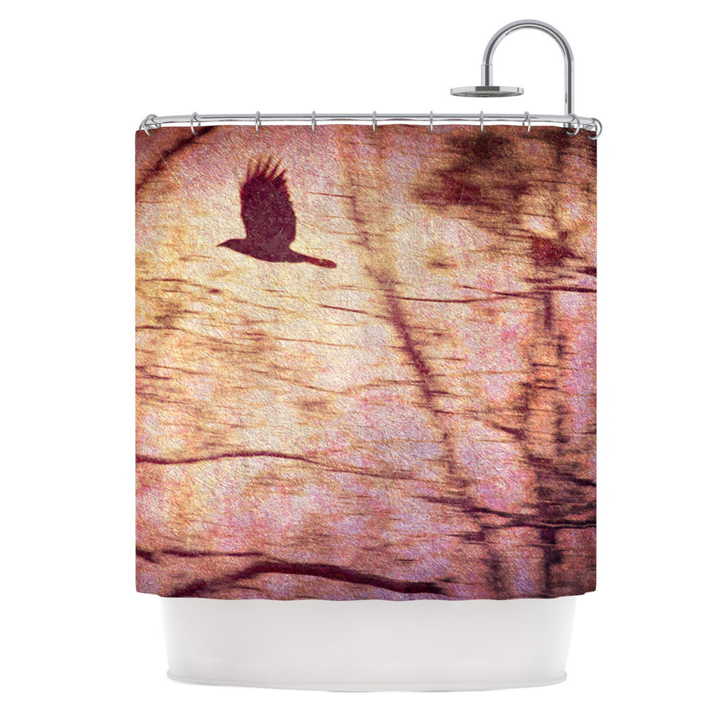 "Robin Dickinson ""Midnight Dreary"" Pink Tree Shower Curtain - KESS InHouse"