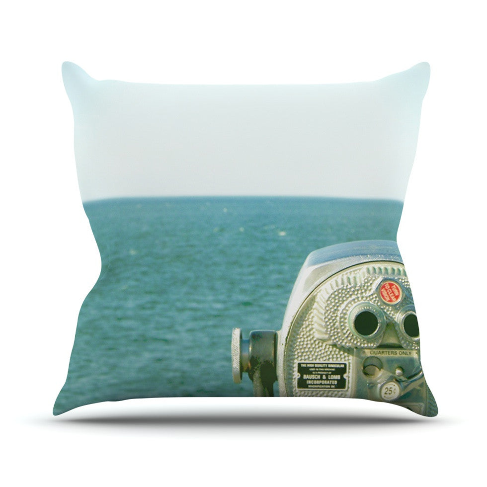 "Robin Dickinson ""Ocean View"" Ocean Blue Throw Pillow - KESS InHouse  - 1"