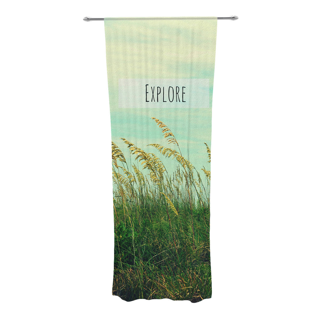 "Robin Dickinson ""Explore"" Quote Green Decorative Sheer Curtains - KESS InHouse"