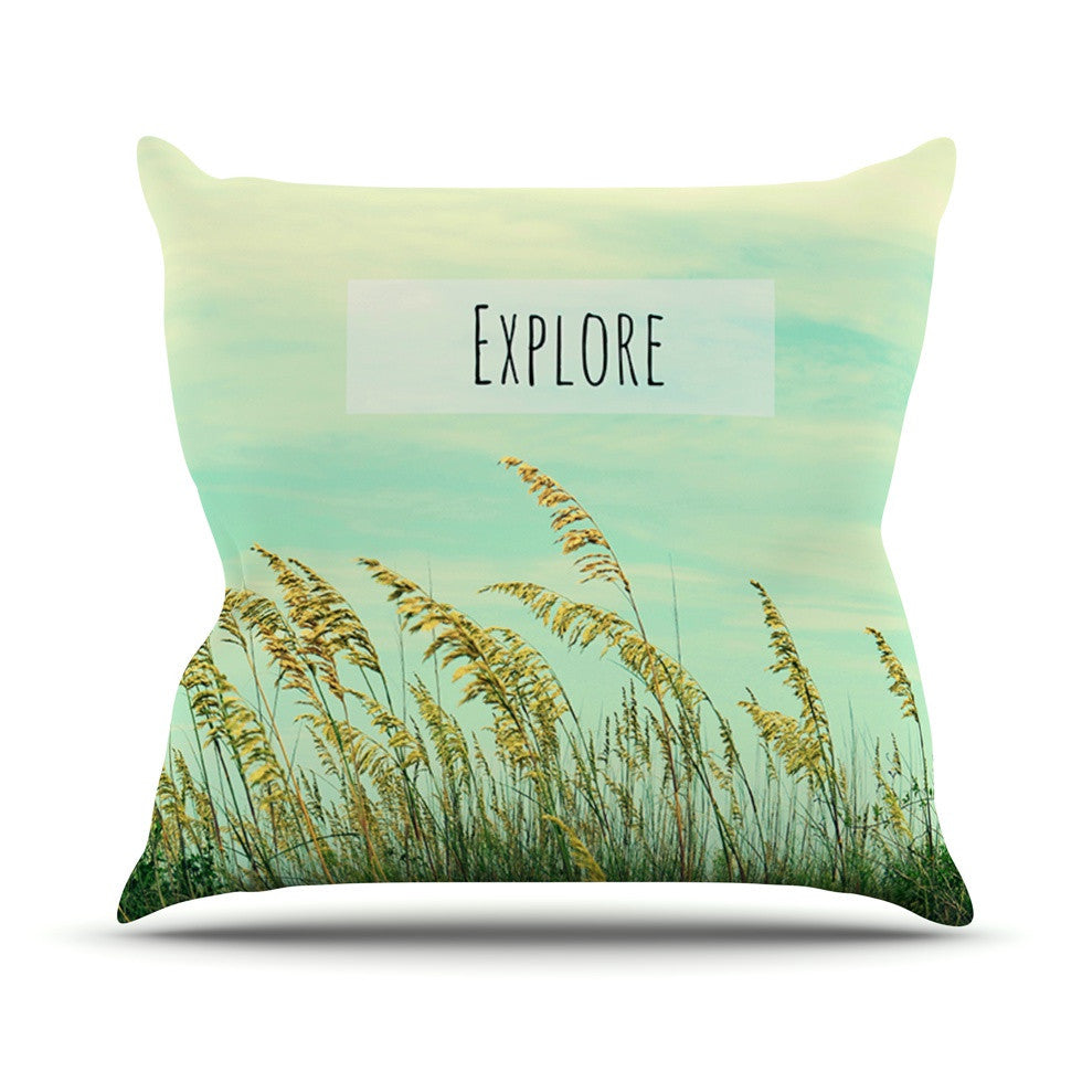 "Robin Dickinson ""Explore"" Quote Green Outdoor Throw Pillow - KESS InHouse  - 1"