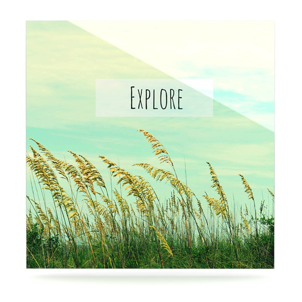 "Robin Dickinson ""Explore"" Quote Green Luxe Square Panel - KESS InHouse  - 1"