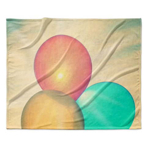 "Robin Dickinson ""Balloons"" Tan Clouds Fleece Throw Blanket"