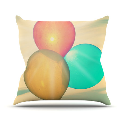 "Robin Dickinson ""Balloons"" Tan Clouds Throw Pillow - KESS InHouse  - 1"