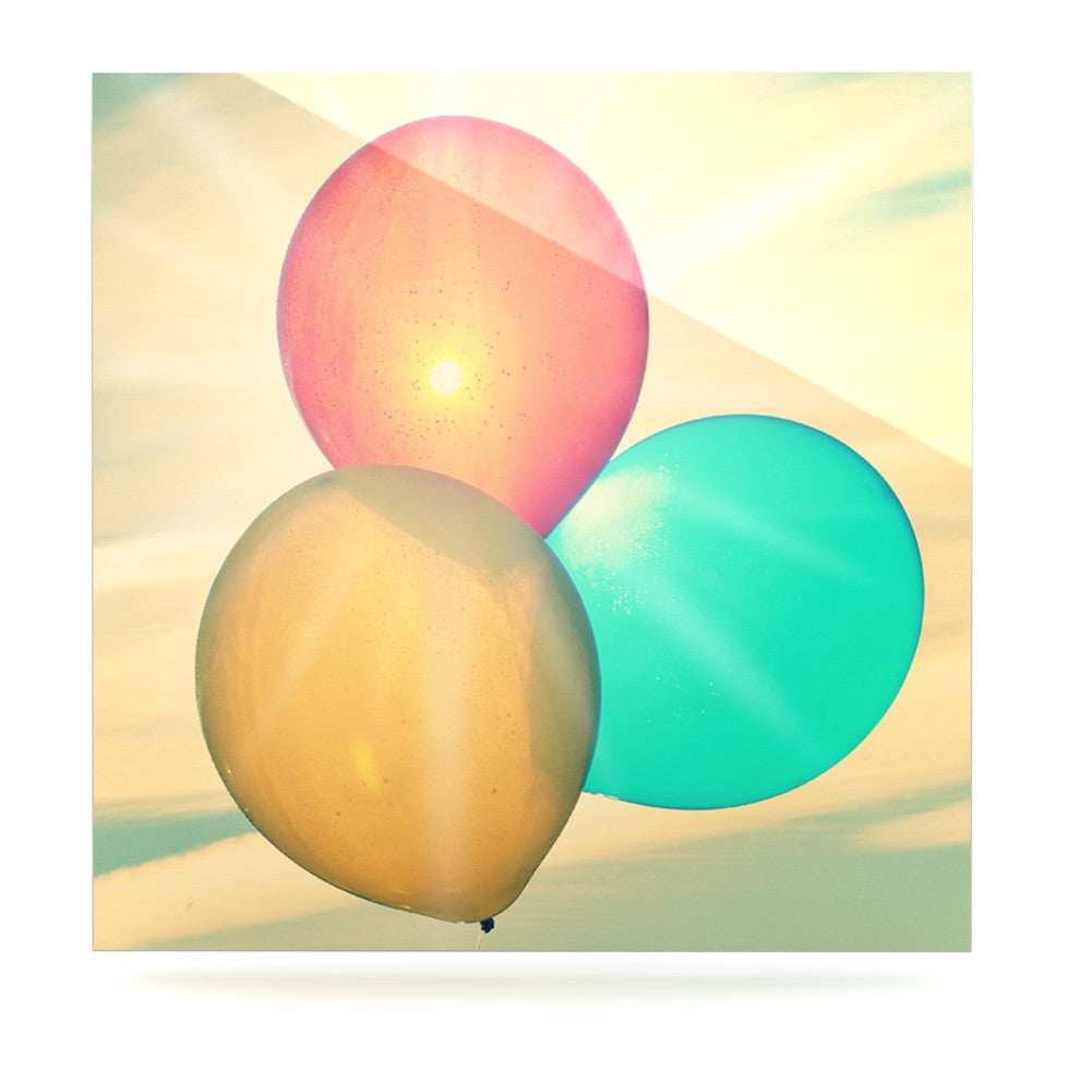 "Robin Dickinson ""Balloons"" Tan Clouds Luxe Square Panel - KESS InHouse  - 1"