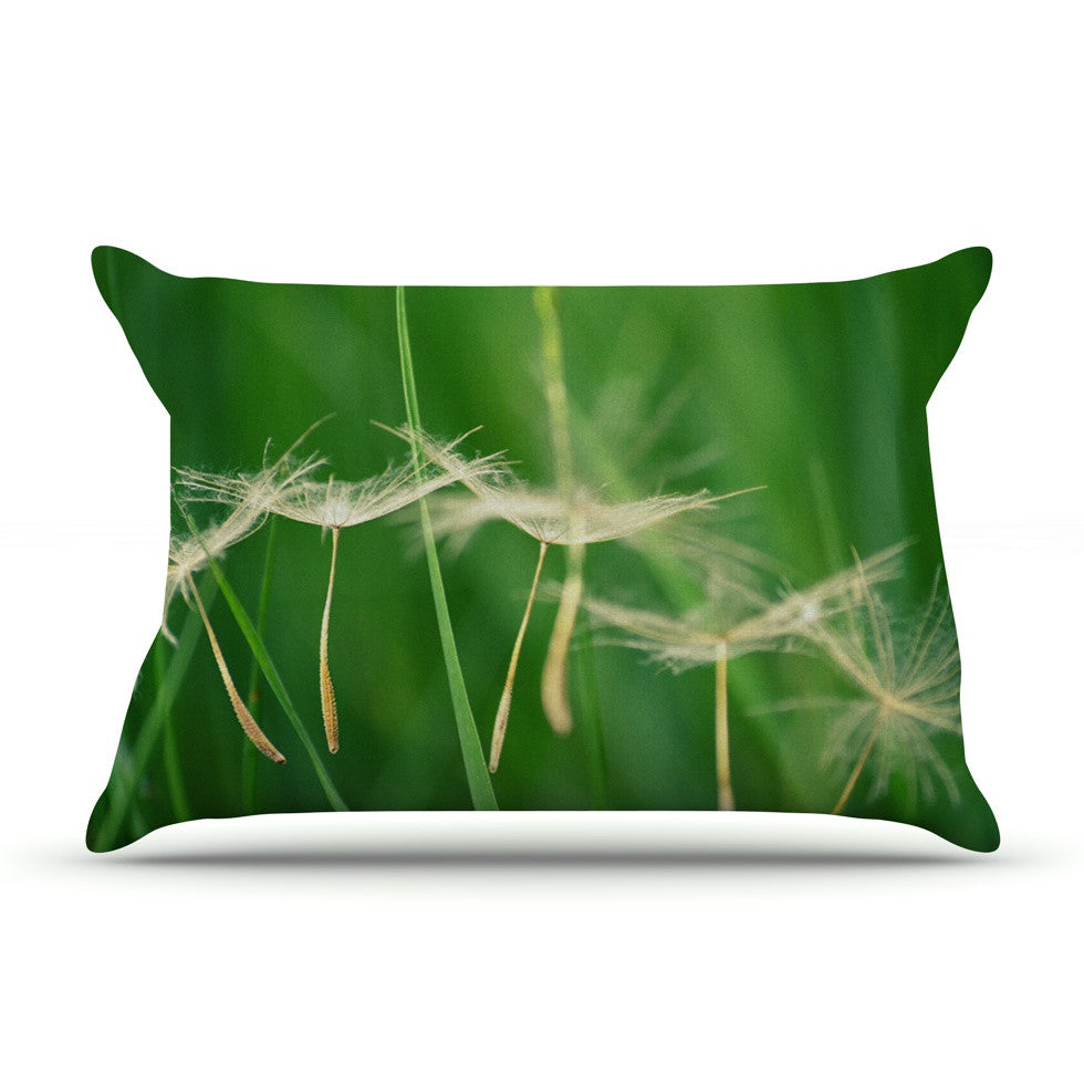 "Robin Dickinson ""Best Wishes"" Green Flower Pillow Sham - KESS InHouse"