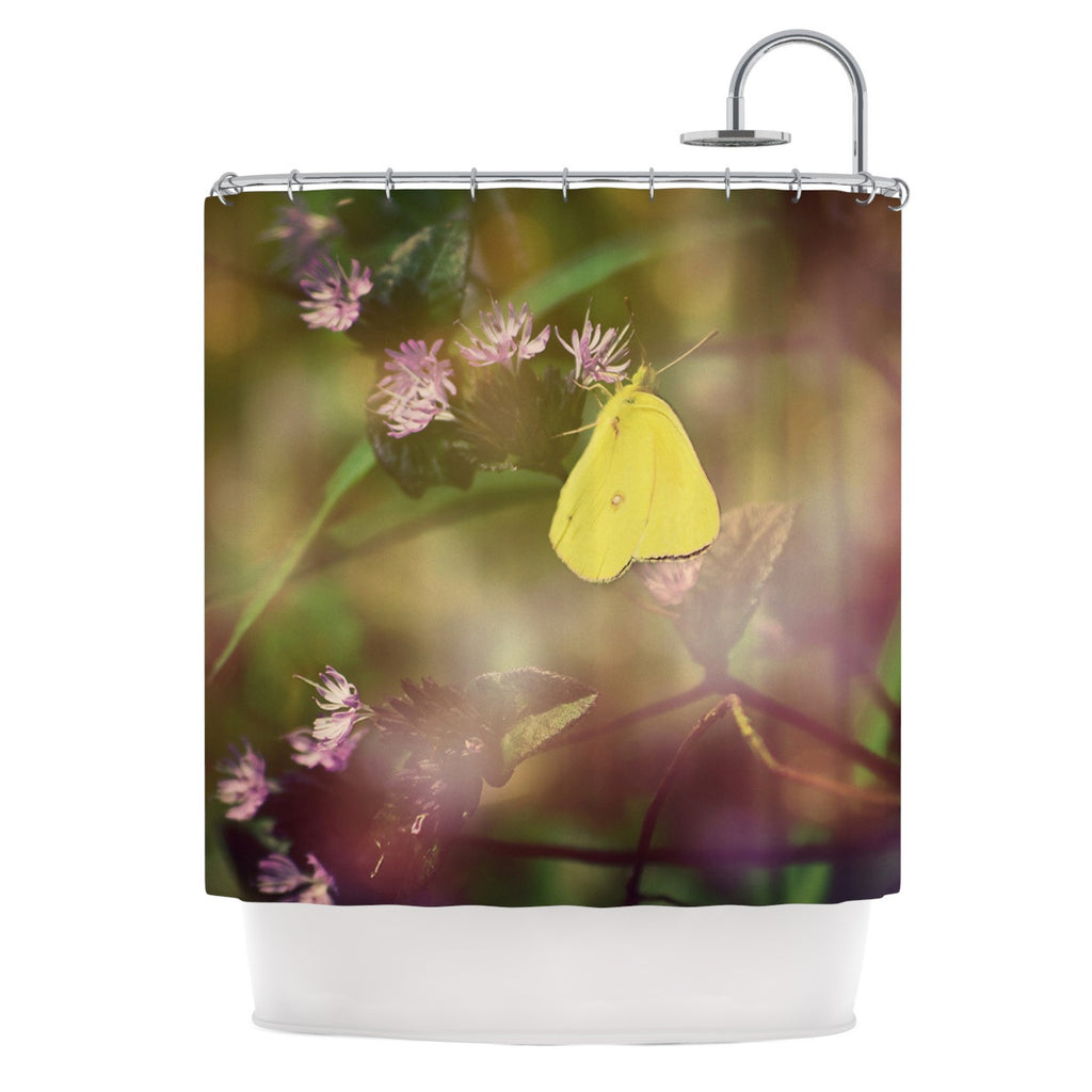 "Robin Dickinson ""Butterfly Kisses"" Green Purple Shower Curtain - KESS InHouse"