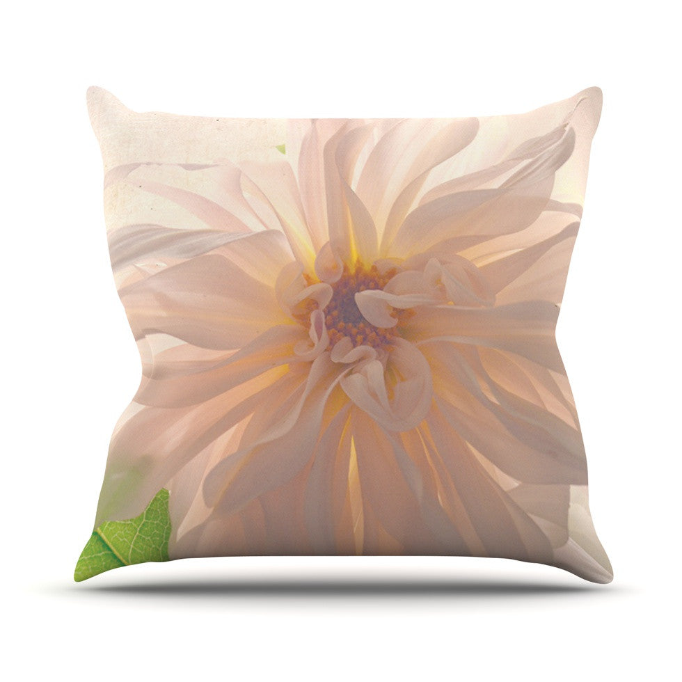 "Robin Dickinson ""Buy Her Flowers"" White Pink Outdoor Throw Pillow - KESS InHouse  - 1"