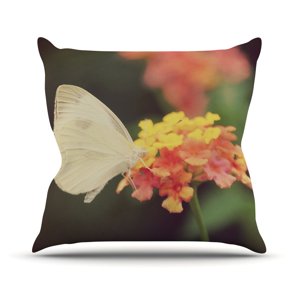 "Robin Dickinson ""Captivating"" Orange Flower Throw Pillow - KESS InHouse  - 1"