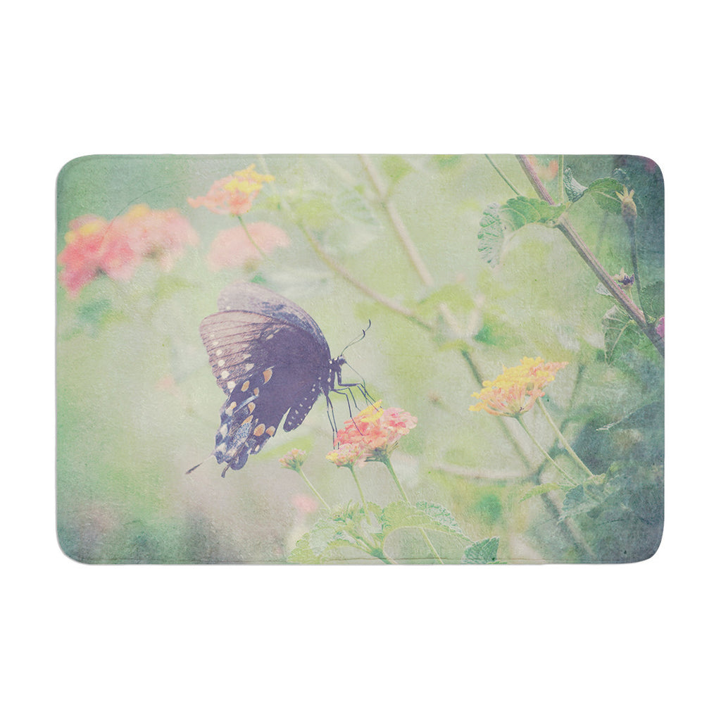 "Robin Dickinson ""Captivating II"" Green Flower Memory Foam Bath Mat - KESS InHouse"