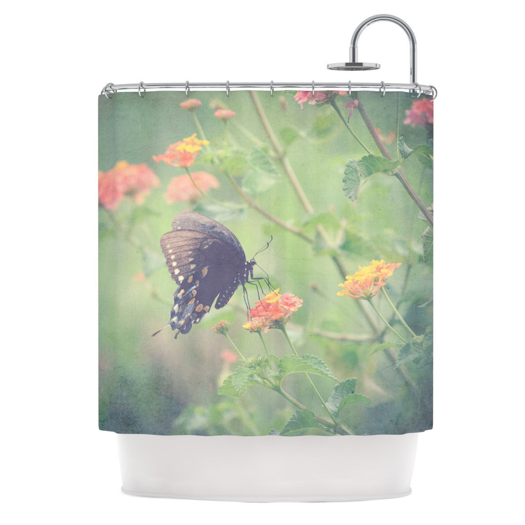 "Robin Dickinson ""Captivating II"" Green Flower Shower Curtain - KESS InHouse"