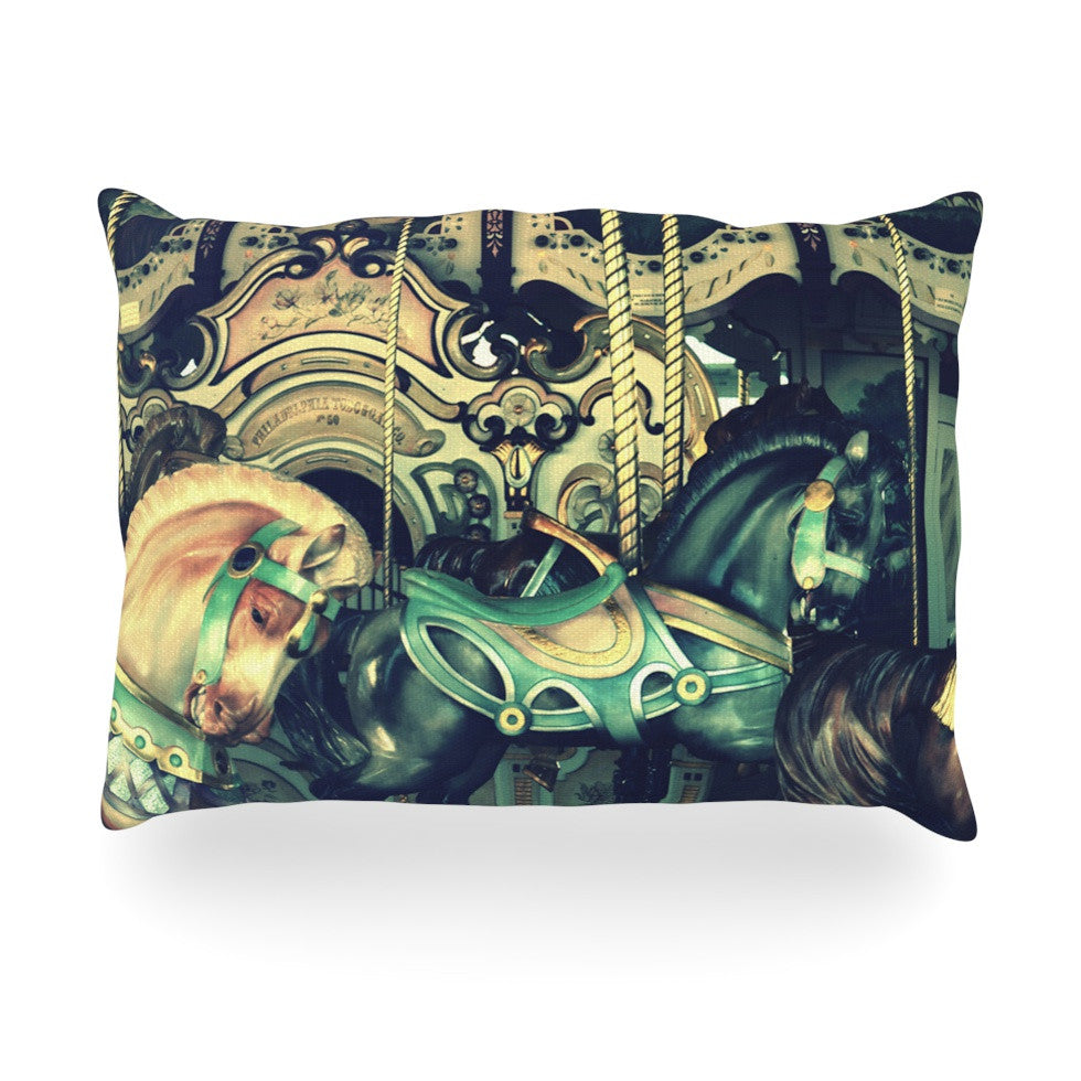 "Robin Dickinson ""Carousel"" Green Horse Oblong Pillow - KESS InHouse"
