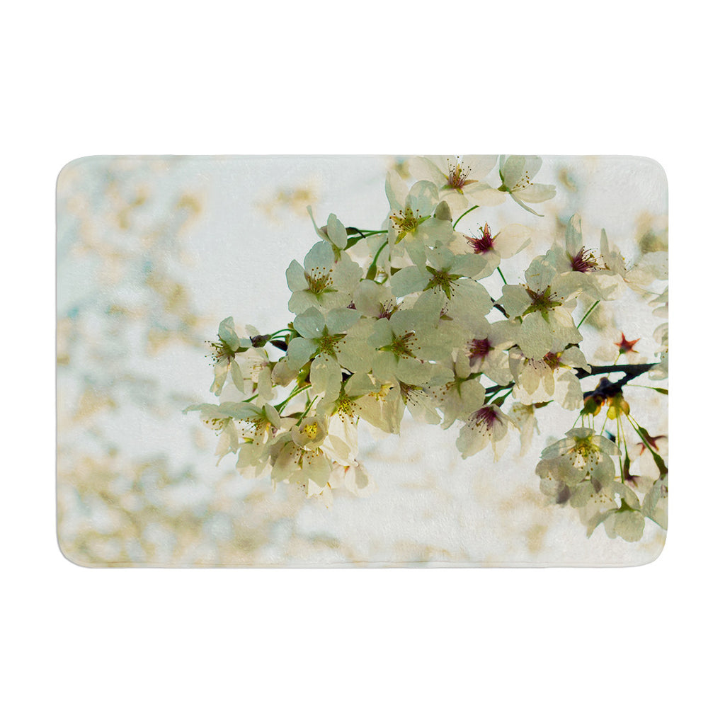 "Robin Dickinson ""Cherry Blossoms"" White Flower Memory Foam Bath Mat - KESS InHouse"