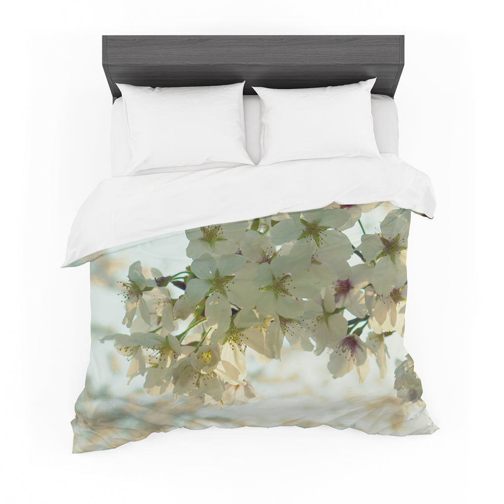 "Robin Dickinson ""Cherry Blossoms"" White Flower Cotton Duvet"