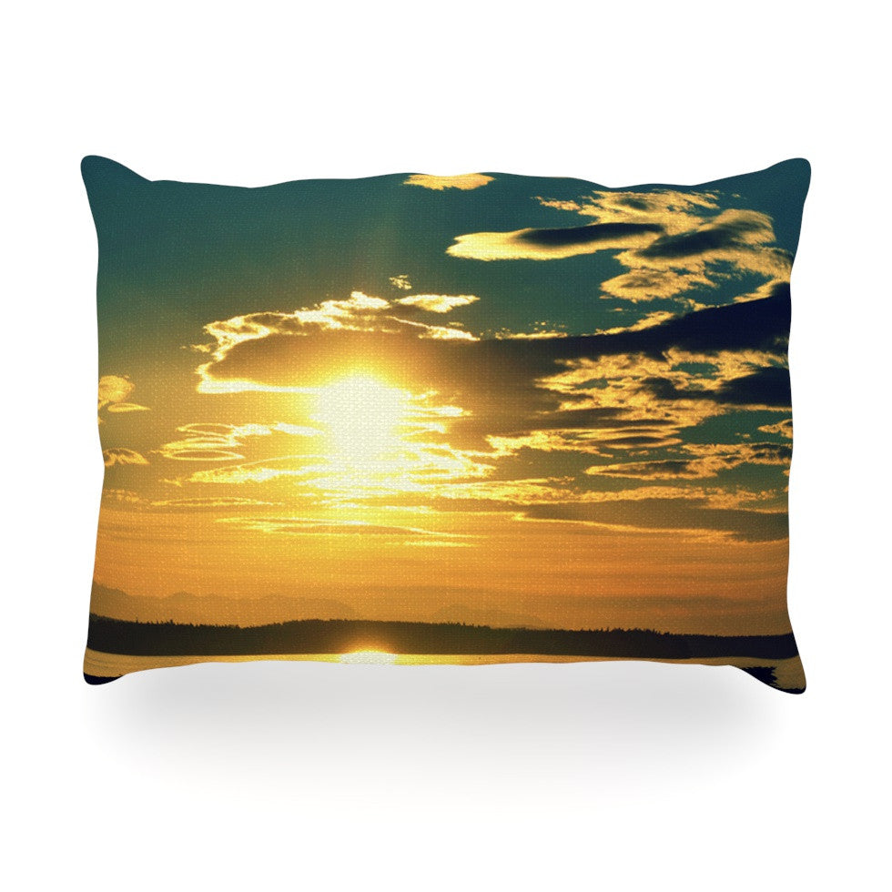 "Robin Dickinson ""Conquer Your Wold"" Gold Blue Oblong Pillow - KESS InHouse"