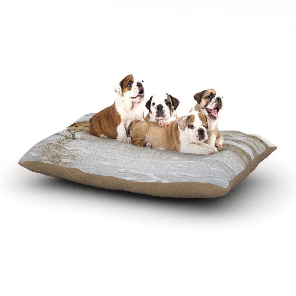 "Robin Dickinson ""Counting the Waves"" Brown White Dog Bed - KESS InHouse  - 1"