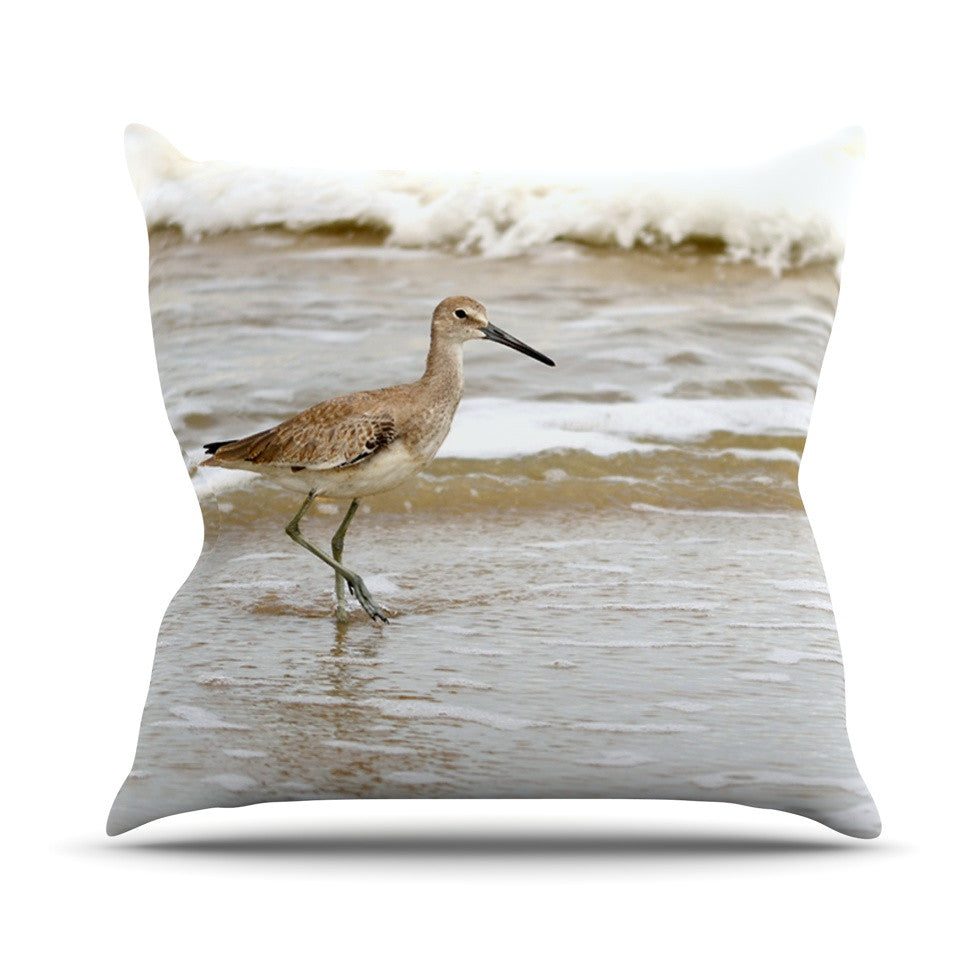 "Robin Dickinson ""Counting the Waves"" Brown White Outdoor Throw Pillow - KESS InHouse  - 1"