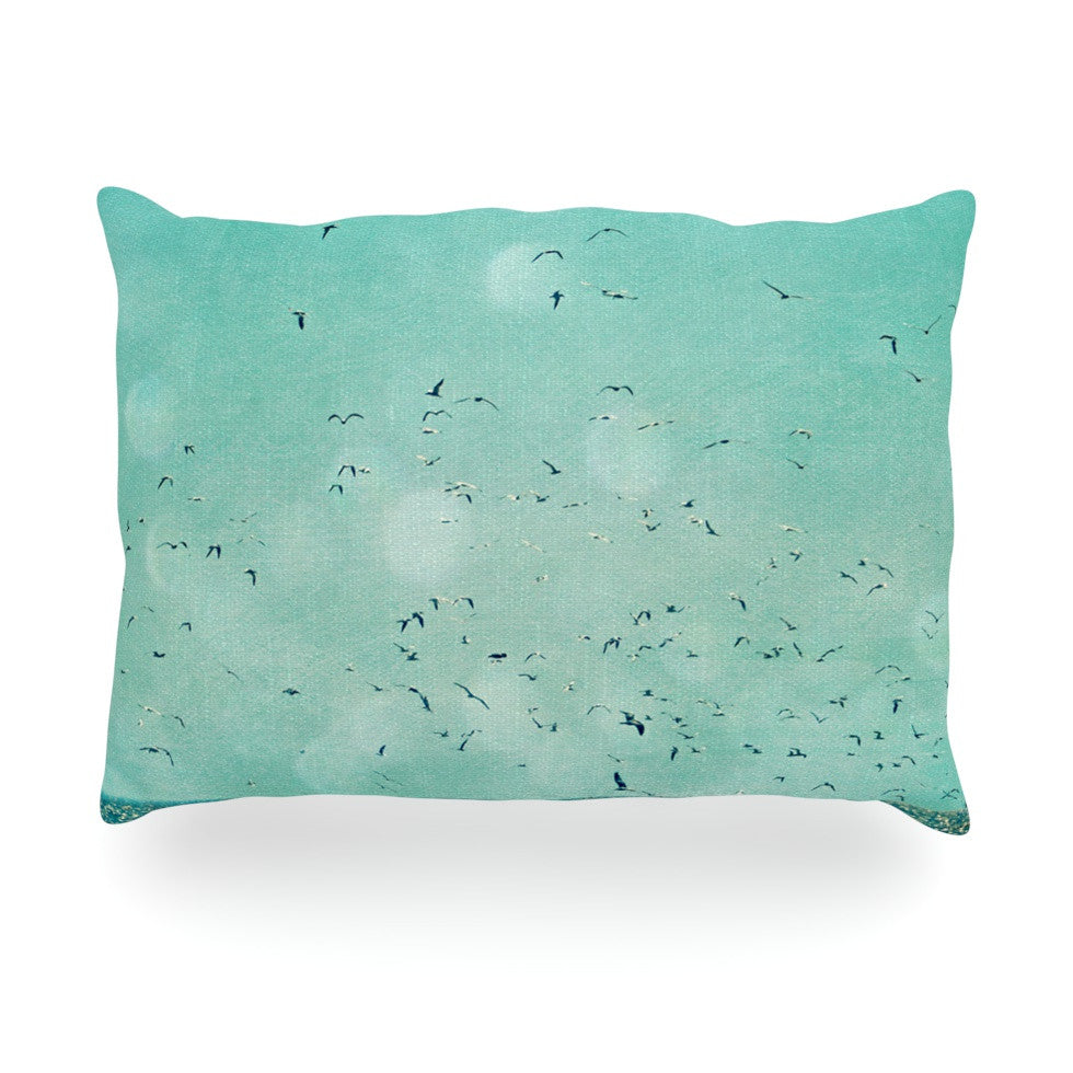 "Robin Dickinson ""Down by the Sea"" Blue Green Oblong Pillow - KESS InHouse"
