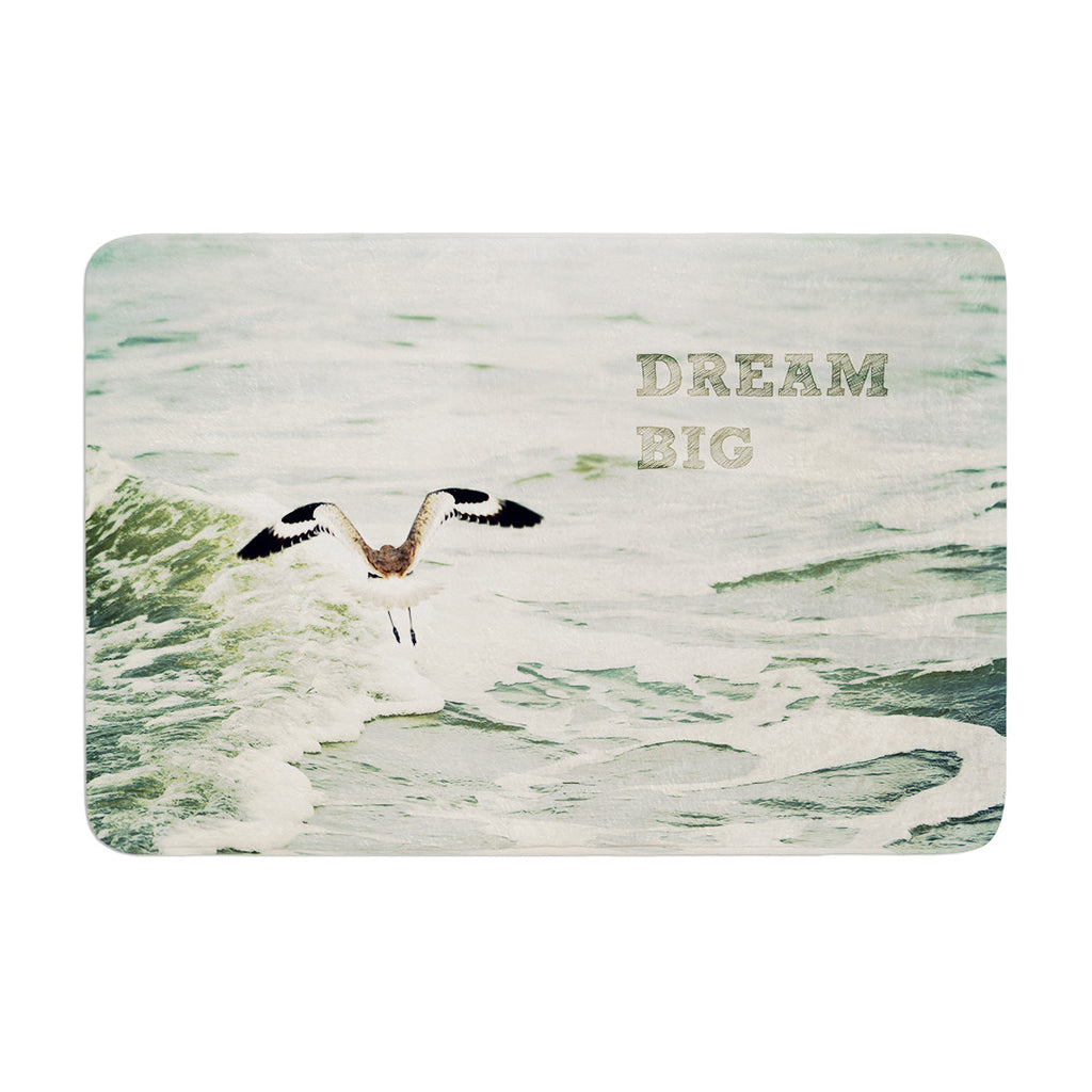 "Robin Dickinson ""Dream Big"" Ocean Bird Memory Foam Bath Mat - KESS InHouse"