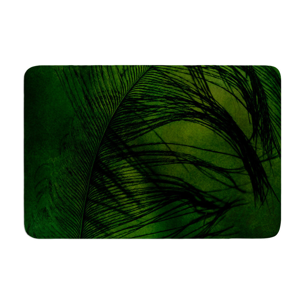 "Robin Dickinson ""Feather Green"" Peacock Memory Foam Bath Mat - KESS InHouse"