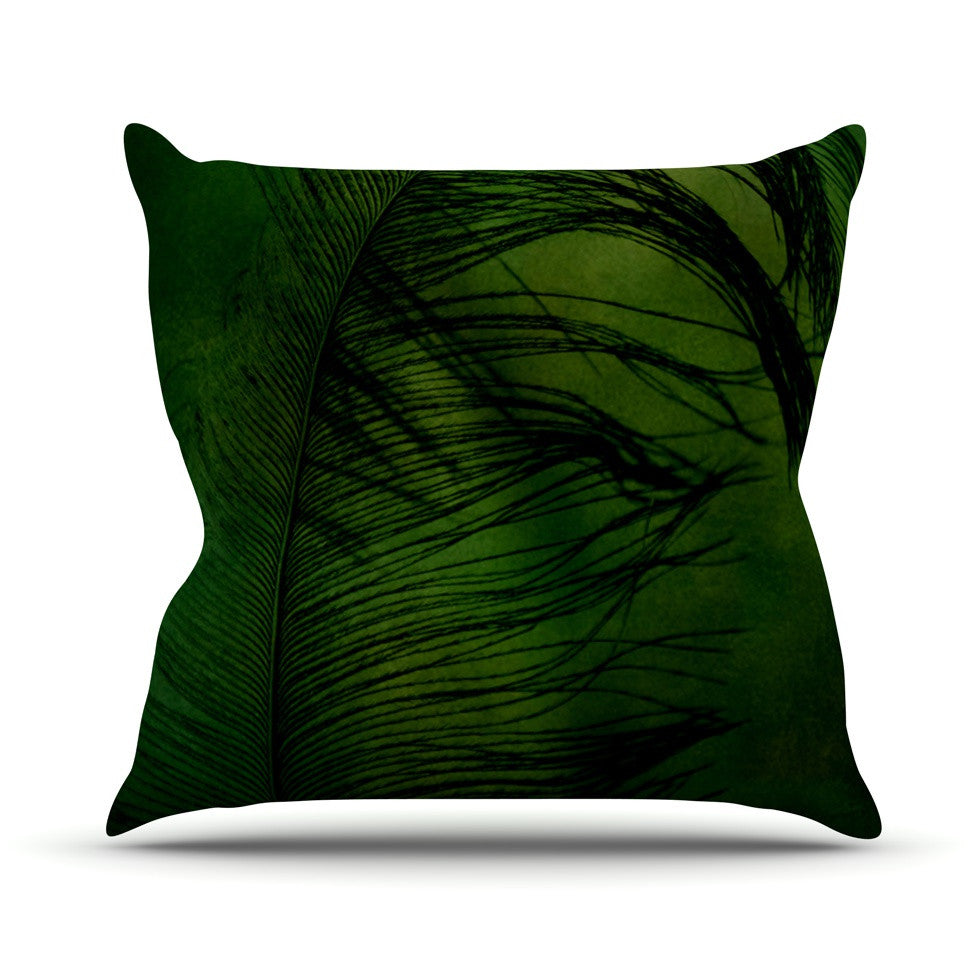 "Robin Dickinson ""Feather Green"" Peacock Throw Pillow - KESS InHouse  - 1"