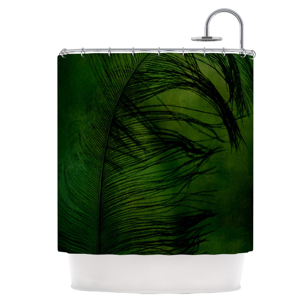"Robin Dickinson ""Feather Green"" Peacock Shower Curtain - KESS InHouse"