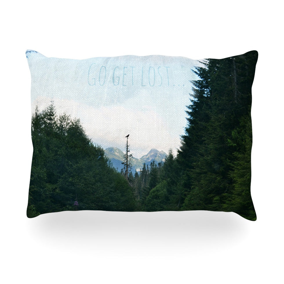 "Robin Dickinson ""Go Get Lost"" Forest Green Oblong Pillow - KESS InHouse"