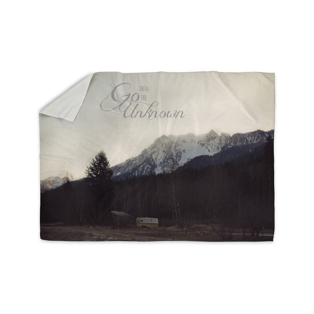 "Robin Dickinson ""Go Into the Unknown"" Brownn White Sherpa Blanket - KESS InHouse  - 1"