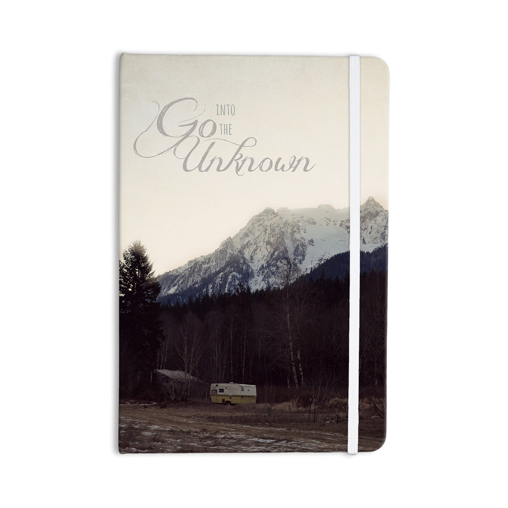 "Robin Dickinson ""Go Into the Unknown"" Brownn White Everything Notebook - KESS InHouse  - 1"