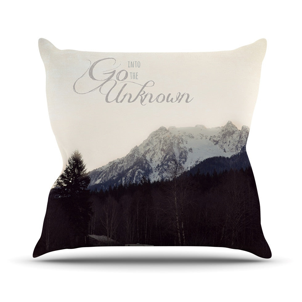 "Robin Dickinson ""Go Into the Unknown"" Brownn White Outdoor Throw Pillow - KESS InHouse  - 1"