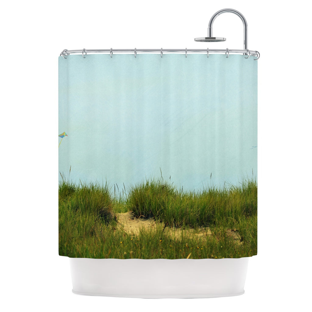 "Robin Dickinson ""Hand in Hand"" Green Blue Shower Curtain - KESS InHouse"