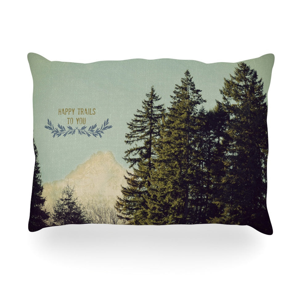 "Robin Dickinson ""Happy Trails"" Green Oblong Pillow - KESS InHouse"