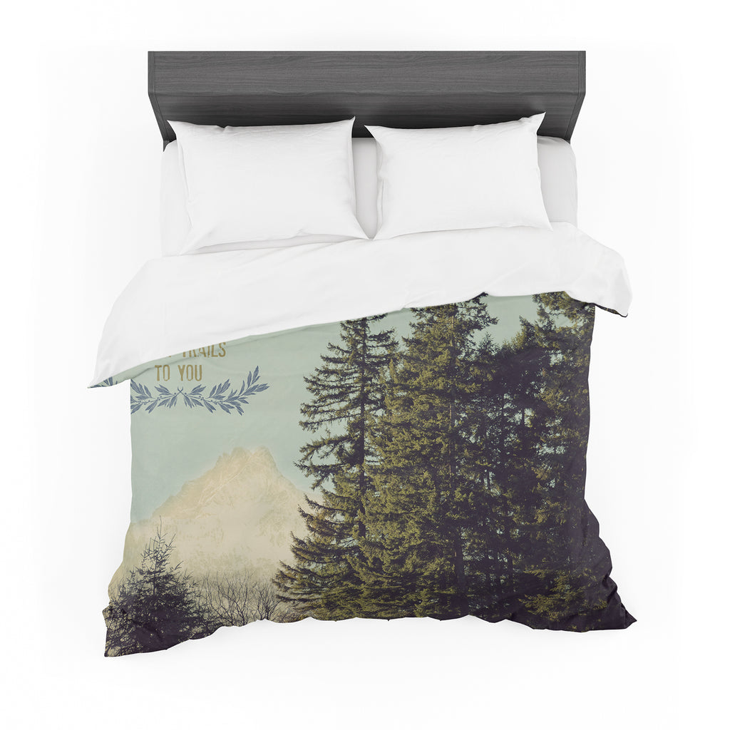 "Robin Dickinson ""Happy Trails"" Green Cotton Duvet"