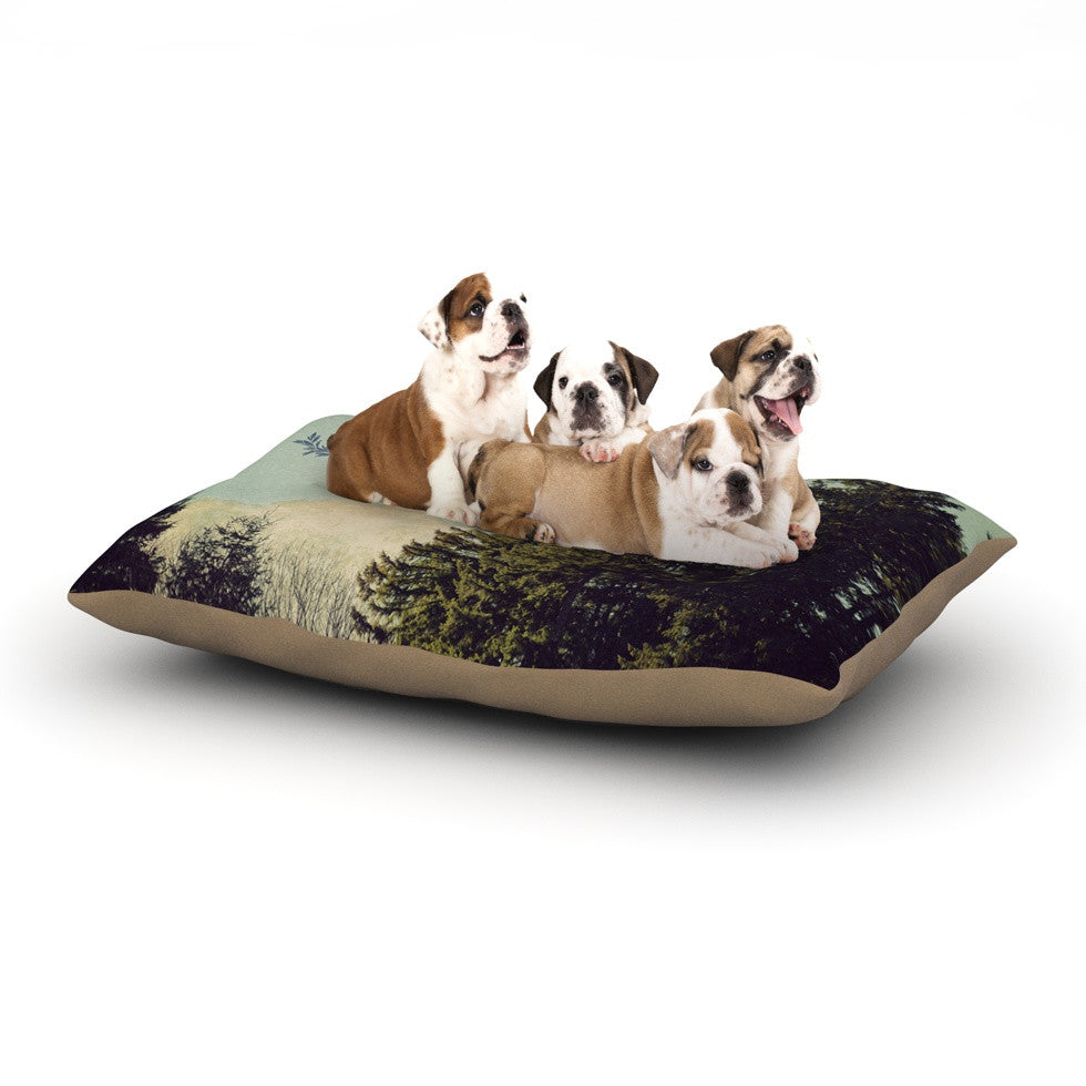 "Robin Dickinson ""Happy Trails"" Green Dog Bed - KESS InHouse  - 1"