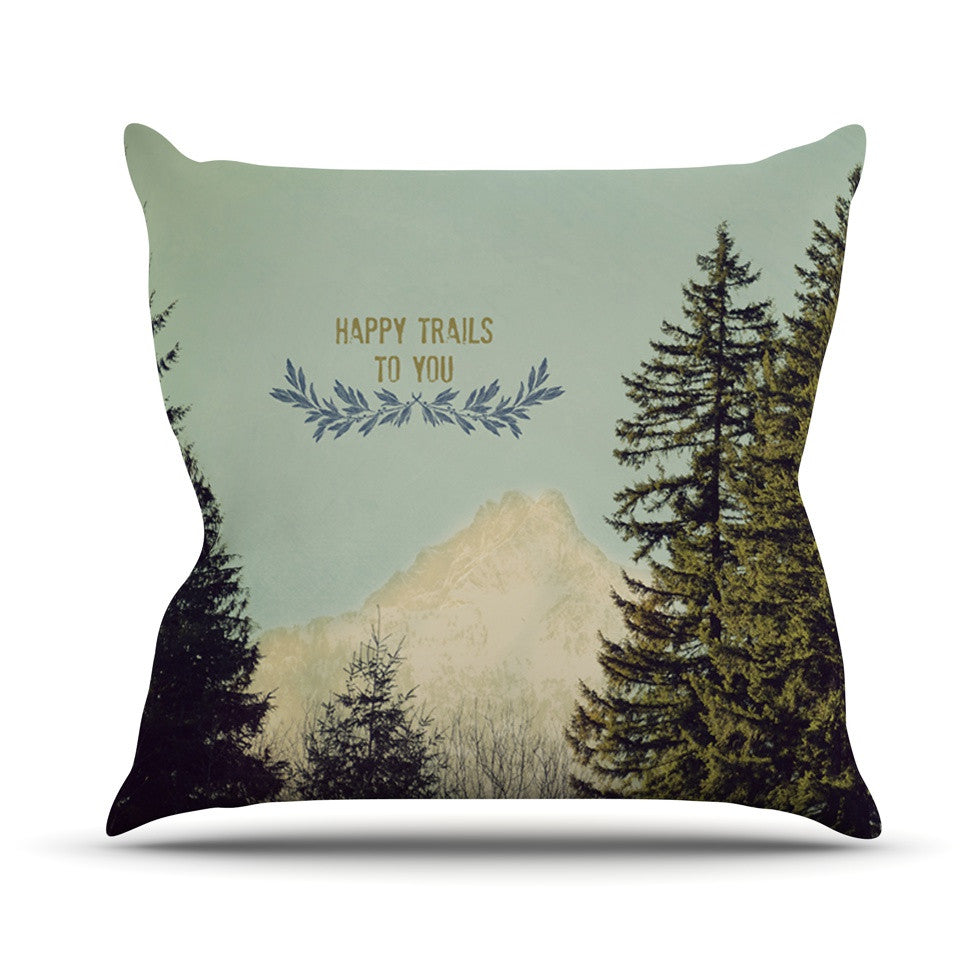 "Robin Dickinson ""Happy Trails"" Green Outdoor Throw Pillow - KESS InHouse  - 1"