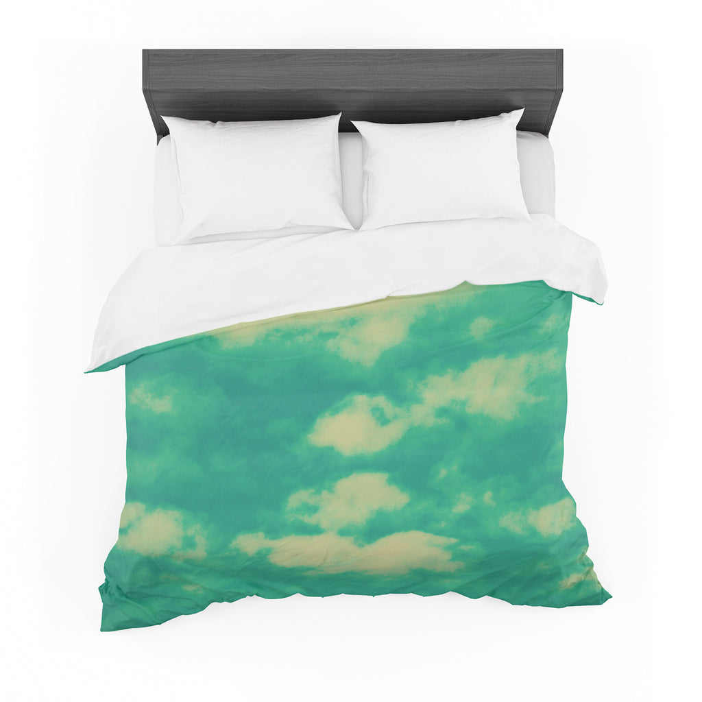 "Robin Dickinson ""I love that you love me"" Green Blue Cotton Duvet"