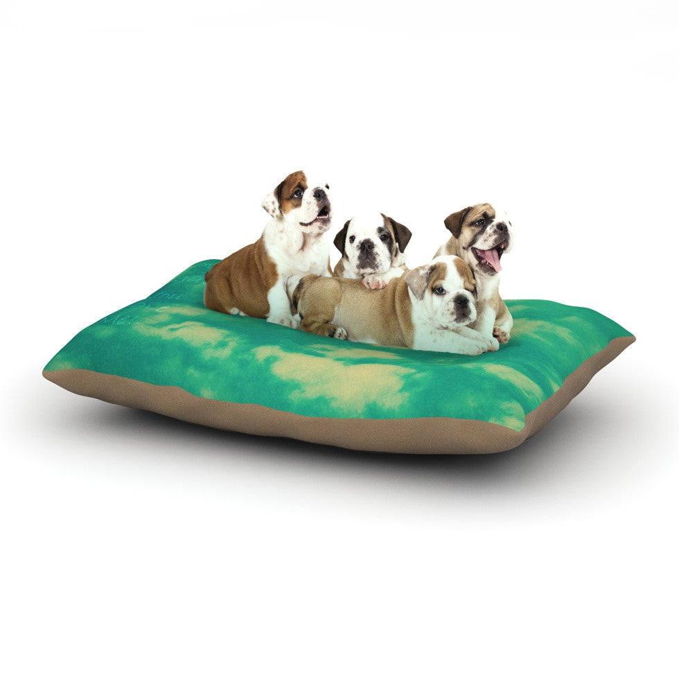 "Robin Dickinson ""I love that you love me"" Green Blue Dog Bed - KESS InHouse  - 1"