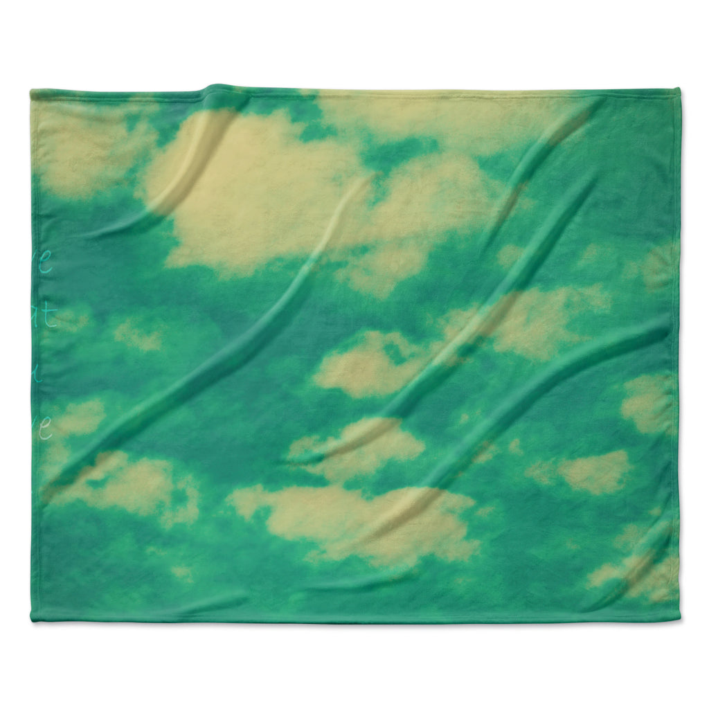 "Robin Dickinson ""I love that you love me"" Green Blue Fleece Throw Blanket"