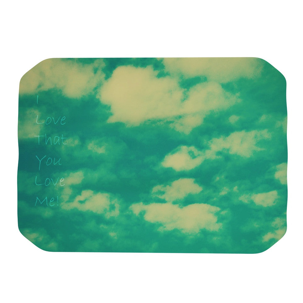 "Robin Dickinson ""I love that you love me"" Green Blue Place Mat - KESS InHouse"