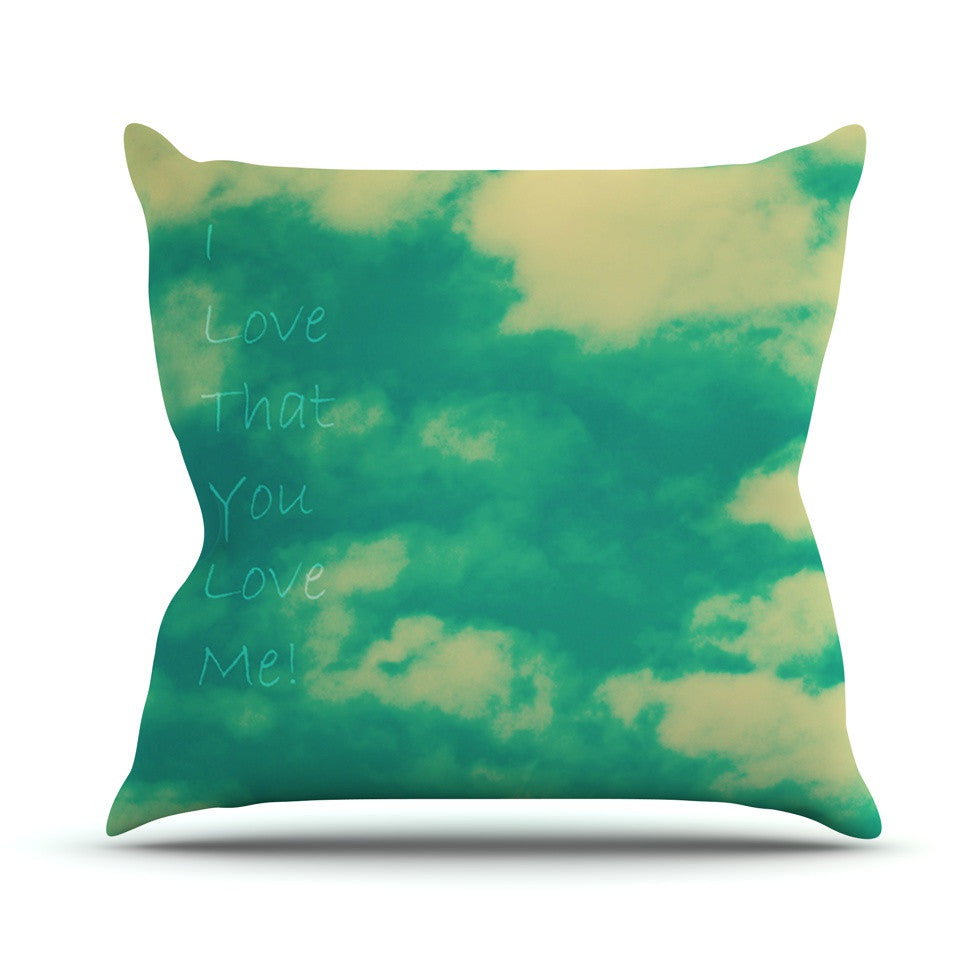 "Robin Dickinson ""I love that you love me"" Green Blue Outdoor Throw Pillow - KESS InHouse  - 1"